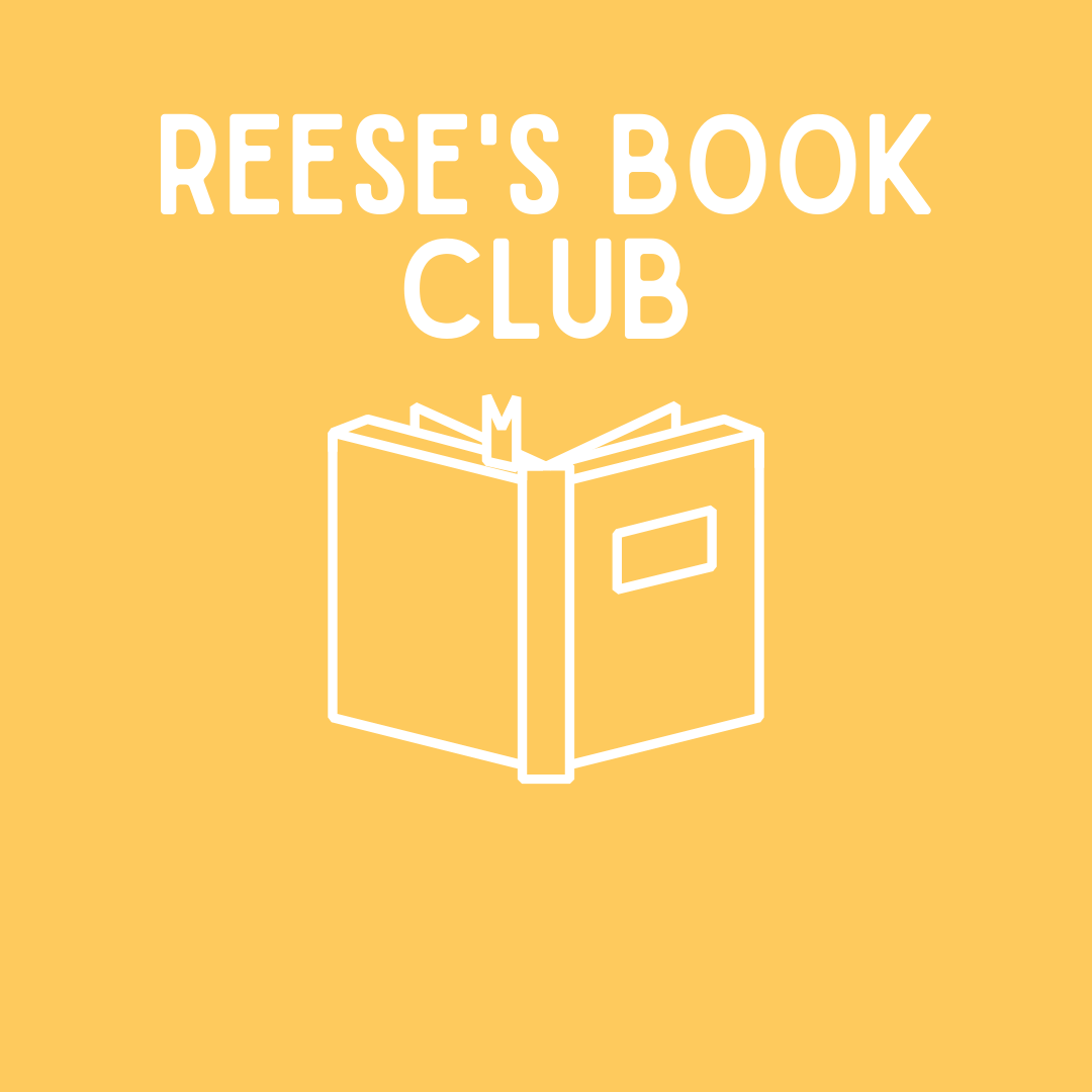 yellow square, white writing, Reese's Book Club
