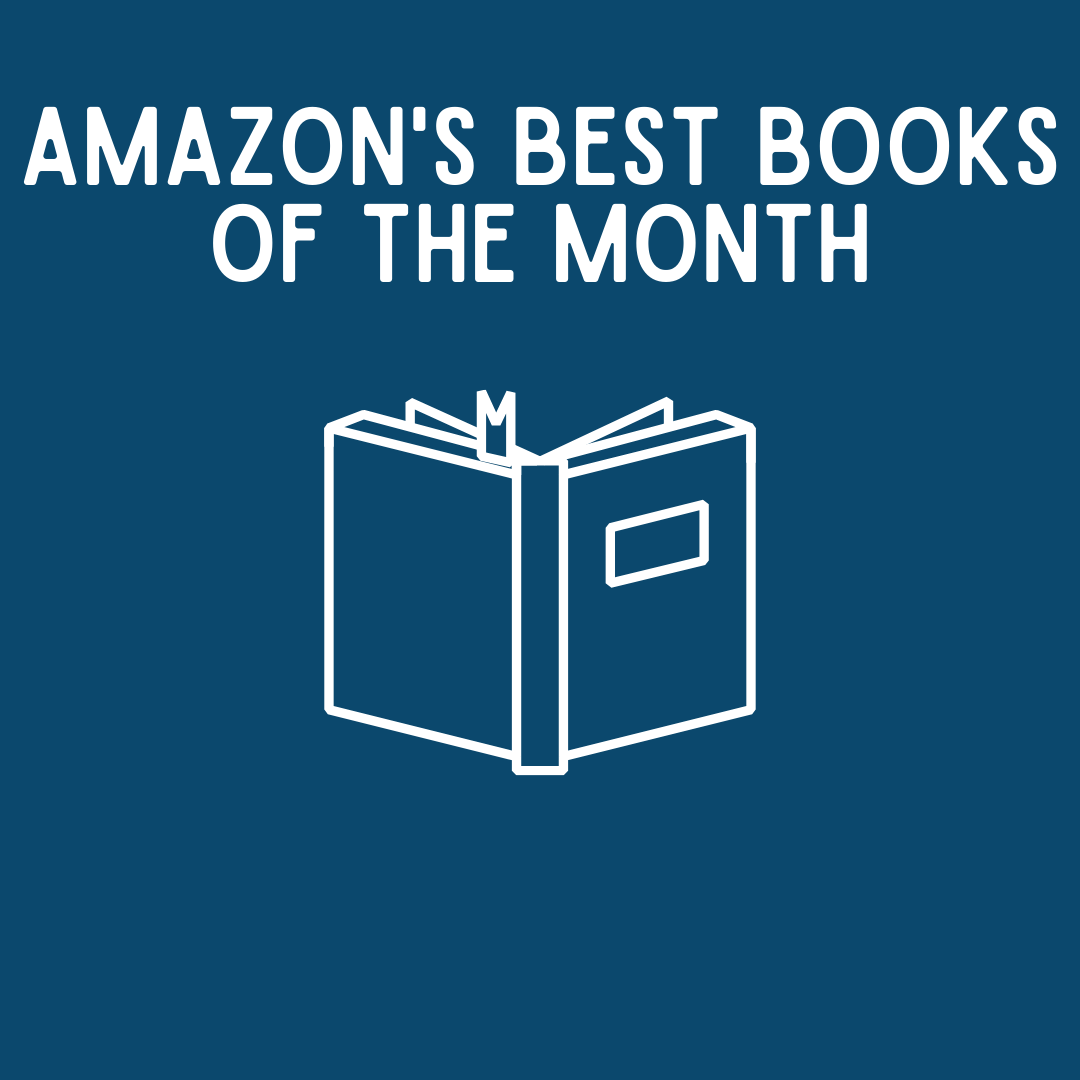 navy blue square with white writing, amazon's best books of the month