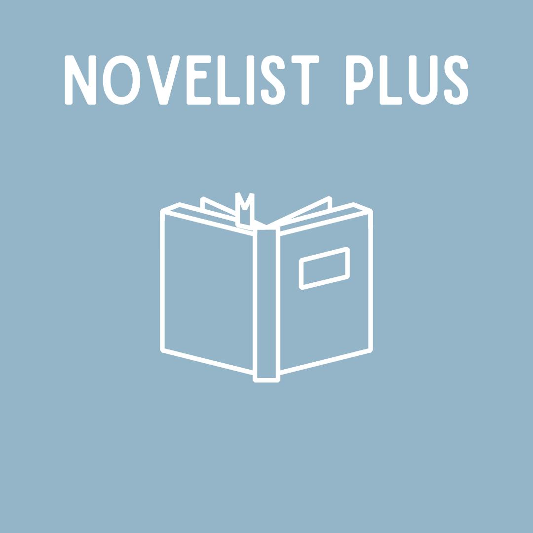 light blue square, white writing, novelist plus